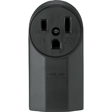 Cooper Wiring Devices Black Nylon Body Power Receptacle, 10 - 4 AWG Conductor, 250 V, 50 A