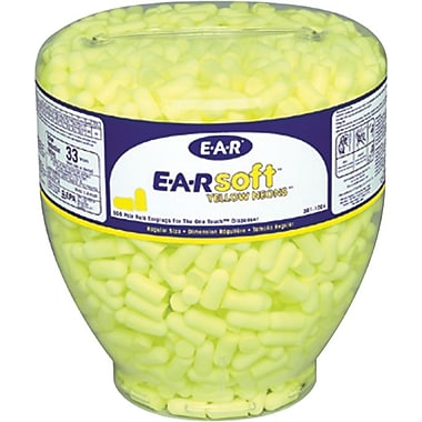 EARsoft® Neons™ Yellow Foam Uncorded Tapered Dispenser, 33 dB, 500/Box