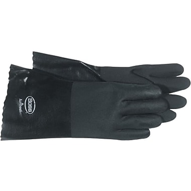 BOSS™ Black Jersey Lined PVC Full Coated Gloves, Large, Black, 14in., 12 Pairs