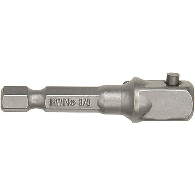 Irwin® Hex Shank Alloy Steel Socket Adapter, 2 in (OAL), 3/8 in Square Drive