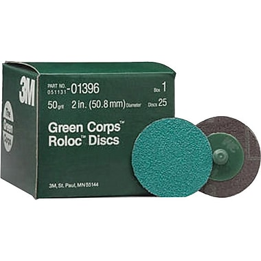 Roloc™ Green Corps™ Green AO Abrasive Disc, 3 in (Dia), 36