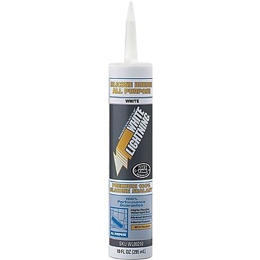 White Lightning Clear Silicone Rubber All Purpose Industrial Sealant 10 oz., 12/Carton