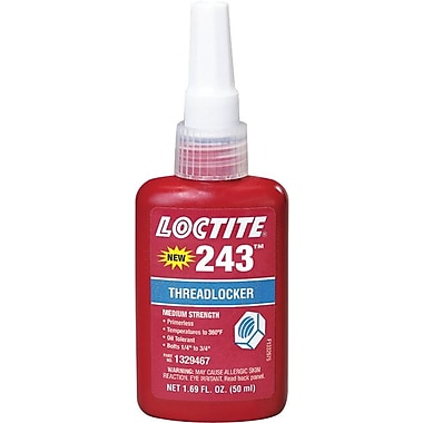Loctite 243™ Blue Primerless Medium Strength Threadlocker, -65 - 360 deg F, 250 ml