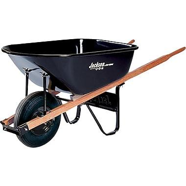 Jackson® Black Steel Platform Medium Duty Contractor Wheelbarrow, 25 1/2 in (W) x 27 in (H), 6 cu ft