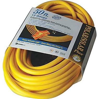 Polar/Solar® T*Prene® TPE Jacket SJEOW Insulated Outdoor Extension Cord, 14/3 AWG, 50 ft (L)