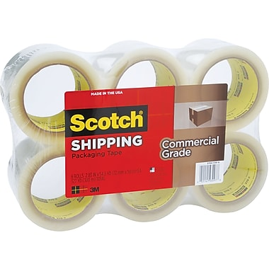 Scotch® Commercial Performance Packaging Tape, Clear, 3in. x 54.6 Yards, 6 Roll