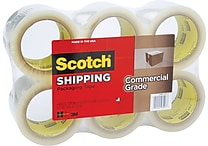 Scotch® Commercial Performance Packaging Tape, Clear, 3' x 54.6 Yards, 6 Roll
