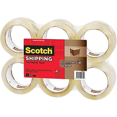 Scotch® Commercial Performance  Packaging Tape, Clear, 1.88in. x 54.6 yds, 6 Rolls