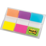 "Post-it® 1"" Flags, Alternating Electric Glow Colors, 60 Flags/On-the-Go Dispenser (680-EG-ALT)"