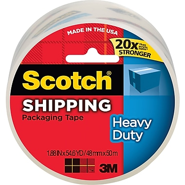Scotch® Heavy-Duty Packaging Tape, Clear, 1.88in. x 54.6 yds, Each