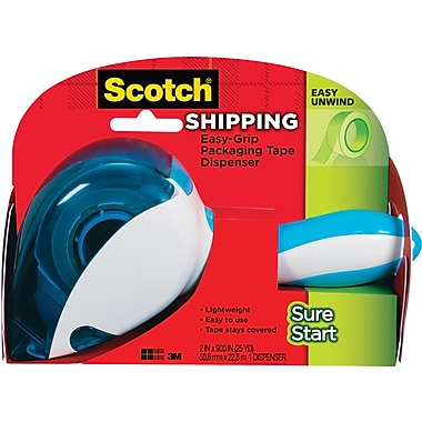 Scotch Easy-Grip Packing Tape Dispenser with Sure Start Shipping Tape, 1.88