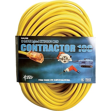 CCI® PVC Jacket SJTW Outdoor Extension Cord, 10/3 AWG, 50 ft (L)