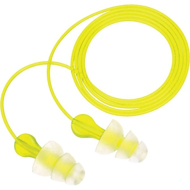 Peltor® Tri-Flange™ Foam Corded Flanged Earplug, 26 dB, 100/Box