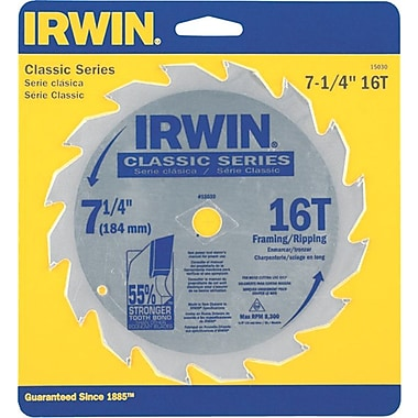 Irwin® Carbide Cutting Edge Classic Corded Circular Saw Blade, 7 1/4 in (Dia), 5/8 in Arbor, Bulk