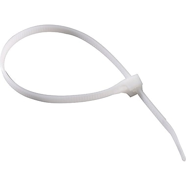 DoubleLock® Natural Nylon6/6 Standard Cable Tie, 8 in (L) x 0.17 in (W) x 0.055 in (T), 100/Bag