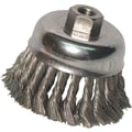 Anchor Brand® SS Wire Knot Cup Brush, 3 in (Dia), 0.012 in (Dia) Bristle, 2 3/4 in (L) Trim