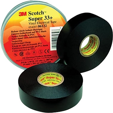 Scotch® Super 33+™ Black PVC Backing Electrical Tape, 3/4 in (W), 44 ft (L), 7 mil (T)