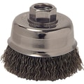 Anchor Brand® CS Wire Crimped Cup Brush, 3 in (Dia), 0.012 in (Dia) Bristle, 2 3/4 in (L) Trim