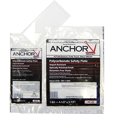 Anchor Brand® Clear Polycarbonate Safety Plate, 4 1/2 in (W), 5 1/4 in (L)