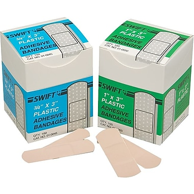 Swift First Aid Plastic Adhesive Bandage Strip, 3 in (L) x 3/4 in (W)