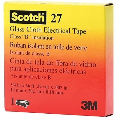 Scotch® White Glass Cloth Backing 27 Electrical Tape, 3/4 in (W), 66 ft (L), 7 mil (T)