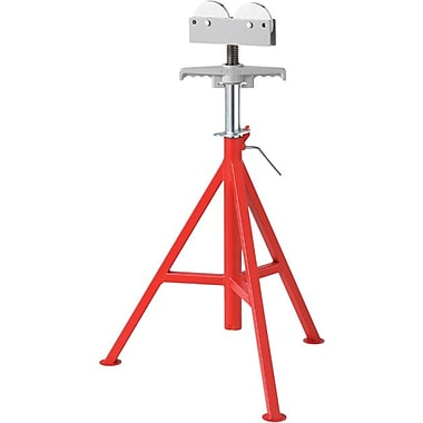 Ridgid® Low Roller Head Pipe Stand, 21 - 41 in Height Adjustment, 12 in Pipe Capacity, 1000 lb