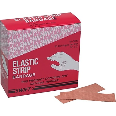 Swift First Aid Heavy Woven Fabric Adhesive Bandage Strip, 3 in (L) x 7/8 in (W)