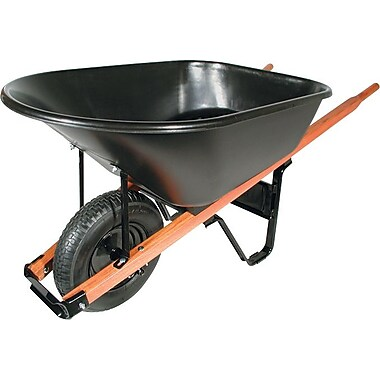UnionTools® Black Steel Tray Platform Wheelbarrow, 25 1/2 in (W) x 27 in (H), 6 cu ft