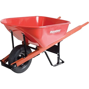 Razor-Back® Red Steel Tray Platform Contractor Wheelbarrow, 25 1/2 in (W) x 25 1/2 in (H), 6 cu ft