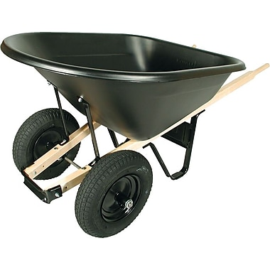 UnionTools® Black Poly Tray Wheelbarrow, 33 in (W) x 30 1/2 in (H), 8 cu ft