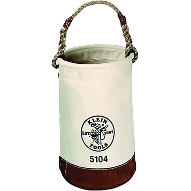 Klein Tools® Leather Canvas Round Bucket Tool Bag With Swivel Snap, 1 Compartment, 17 in (H)