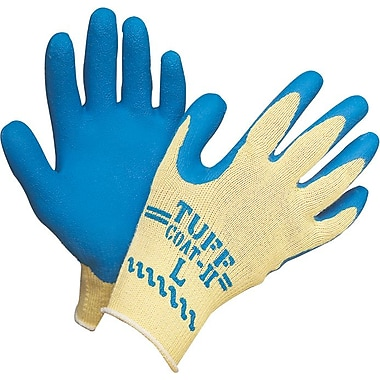 Atlas Fit™ Tuff-Coat ll™ Kevlar® Fiber Knit Lining Natural Rubber Latex Palm Gloves, Large, Blue