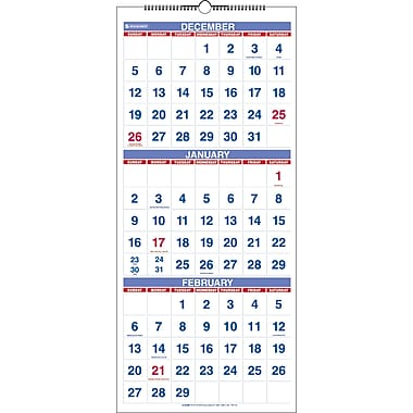 2013 AT-A-GLANCE® Recycled Three-Month Reference Wall Calendar, 12in. x 27in.