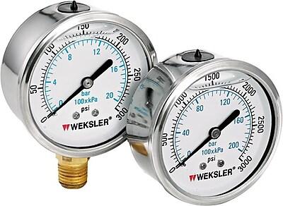 Weksler Stainless Steel Liquid Filled Gauge, 0 - 5000 psi, 2 1/2 in Dial, 1/4 in NPT BM 773471
