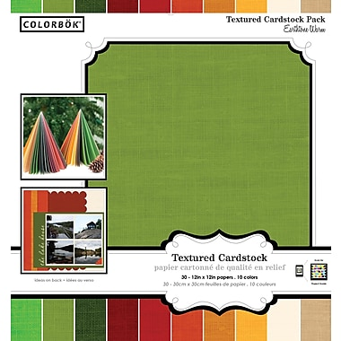 Colorbok 12x12 Textured Cardstock, Warm Earthtones