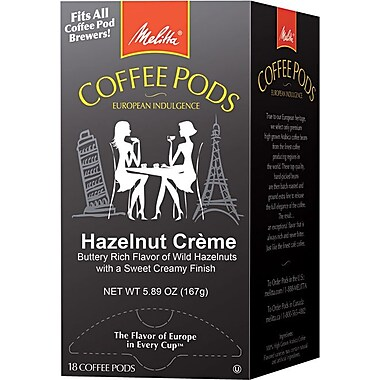 Melitta® Hazelnut Cream Coffee Pods, Regular, 18 Pods