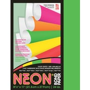 """Neon& Bond Paper, 8-1/2""""x11"""", Letter, 24#, Green, 100 Sheets/Pack"""