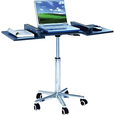The Sharper Image Adjustable Height Foldable Laptop Cart, Black
