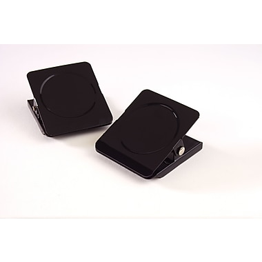 Staples® Square Magnetic Clips, Black, 1 3/4in. Width, 1in. Capacity, 2/Pk