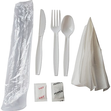 Berkley Square Heavy-Duty Plastic Cutlery Kit, 250/Pack