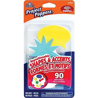 Elmer's® Project Popperz, Repositionable Paper Shapes and Accents