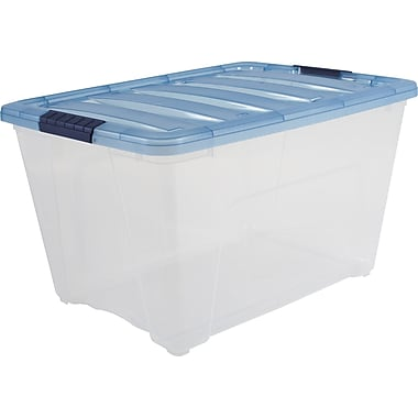 IRIS Clear with Navy Lid 54qt Stack and Pull Modular Tote