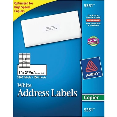 Avery 5351 White Copier Address Labels, 1in. x 2-13/16in., 3,300/Box