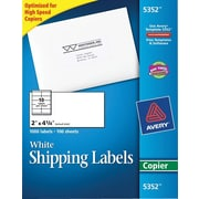 Avery® 5352 White Copier Shipping Labels, 2 x 4-1/4, 1,000/box