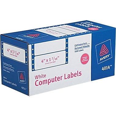 Avery 4014 White Pin-Fed Computer Labels, 4in. x 1-7/16in., 5,000/Box