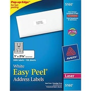 Avery® 5160 White Laser Address Labels with Easy Peel®, 1in. x 2-5/8in., 3,000/Box