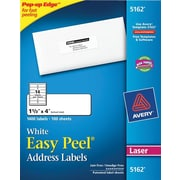 "Avery 1 1/3"" x 4"" 5162 Laser Address Labels with Easy Peel, White, 1,400/Box"