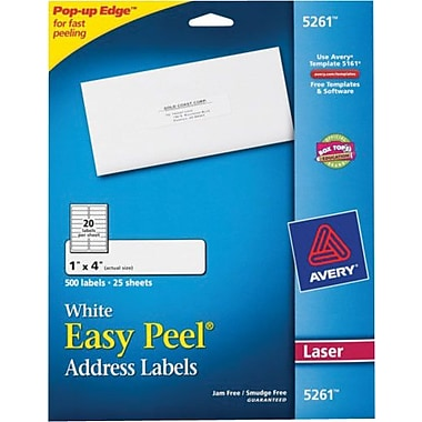 Avery 5261 easy peel laser address labels ave5261 1 pack for Staples white mailing labels template