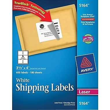 Avery Laser Shipping Labels with TrueBlock™, 3-1/3