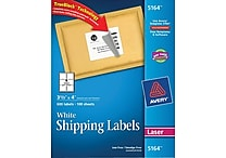 Avery® 5164 White Laser Shipping Labels with TrueBlock™, 3-1/3' x 4', 600/Box